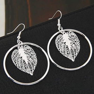 Leaf Round Oure Color 6pcs T5B8FE-Silver Color