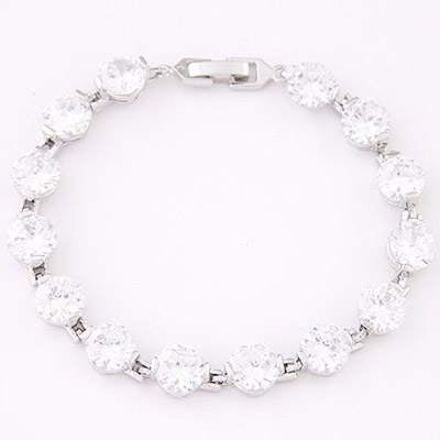Diamond Decorated Simple Design 6pcs T6C67C-White