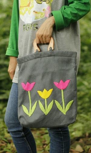 Hand Bag Tas Jinjing Tangan Santai Cantik Etnik Mukena Baju Fashion Wanita Handle Kayu 5