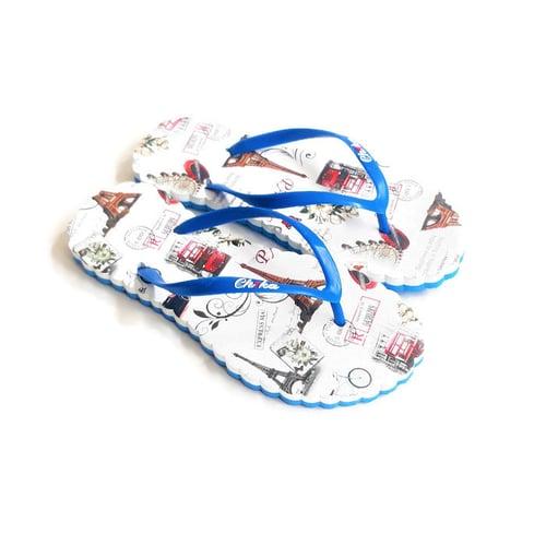 CH1KA Paris Biru Sandal Motif - Sandal Jepit Wanita Cantik Unik Original Asli