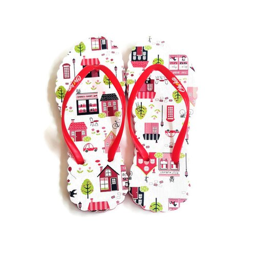 CH1KA Restaurant Merah Sandal Motif - Sandal Jepit Wanita Cantik Unik Original Asli