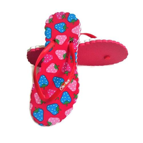 CH1KA Strawberry Merah Sandal Motif - Sandal Jepit Wanita Cantik Unik Original Asli