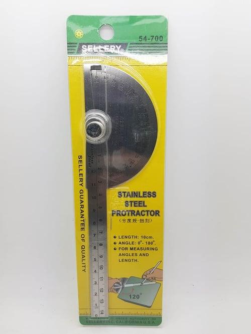 Busur Derajat - Stainless Steel Protactor Sellery