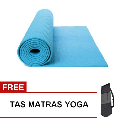 Matras Yoga Pilates Senam Gym Matt PVC - 6 mm -  Biru Muda