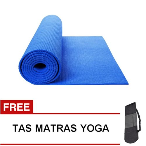 Matras Yoga Pilates Senam Gym Matt PVC - 6 mm -  Biru Tua
