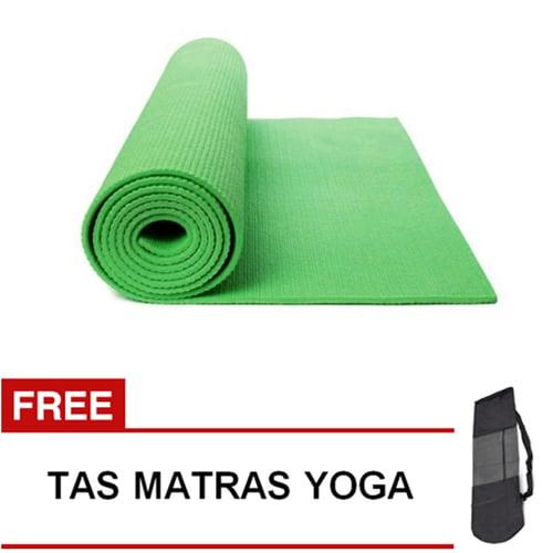 Matras Yoga Pilates Senam Gym Matt PVC - 6 mm -  Hijau Muda