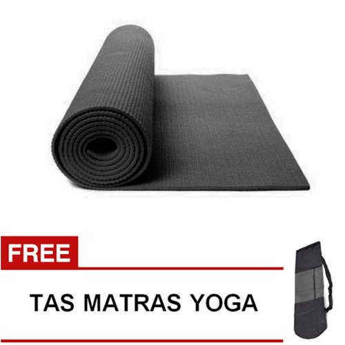 Matras Yoga Pilates Senam Gym Matt PVC - 6 mm -  Hitam