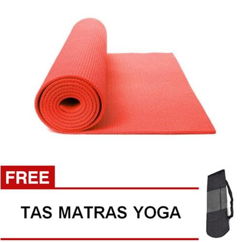 Matras Yoga Pilates Senam Gym Matt PVC - 6 mm -  Merah
