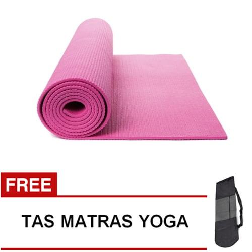Matras Yoga Pilates Senam Gym Matt PVC - 6 mm -  Pink Muda