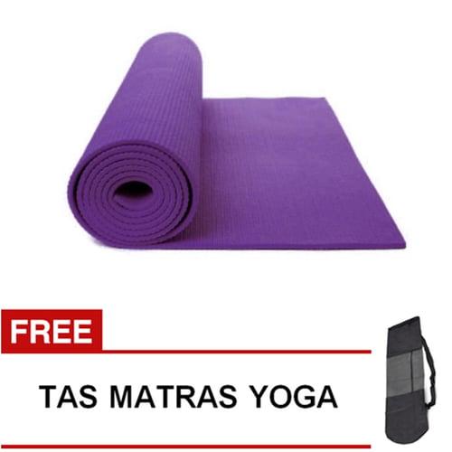 Matras Yoga Pilates Senam Gym Matt PVC - 6 mm -  Ungu Tua