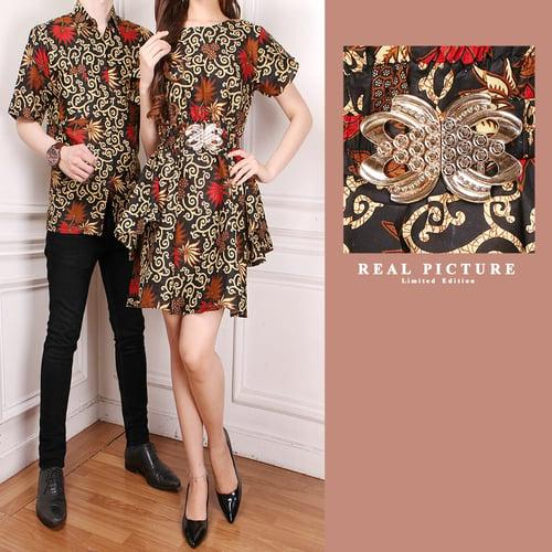 Couple Dress Midi Batik Lokii dan Kemeja Batik Pria