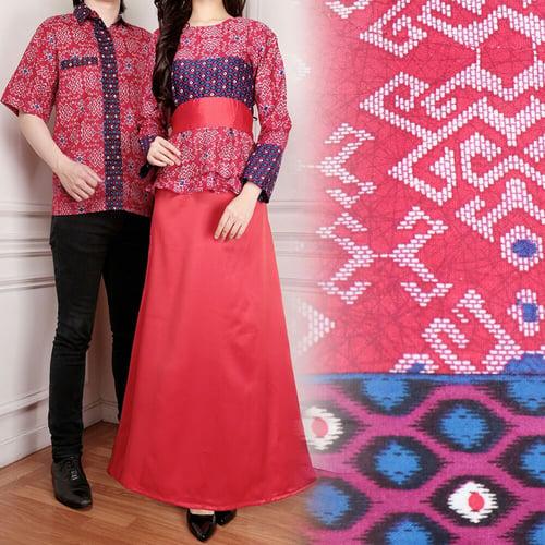 Couple Gamis Jiela Longdress Wanita dan Kemeja Batik Pria