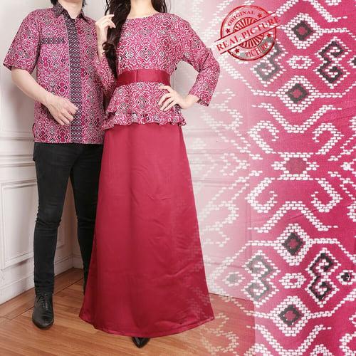 Couple Gamis Lilaja Longdress Wanita dan Kemeja Batik Pria