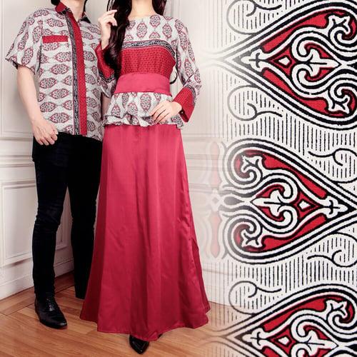 Couple Gamis Zara Longdress Wanita dan Kemeja Batik Pria