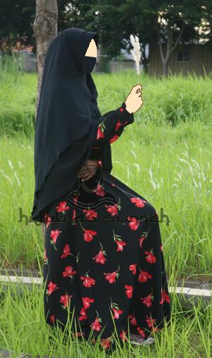 baju gamis syar i bahan wolfis woolpeach busana muslimah dress bagus-M-HITAM