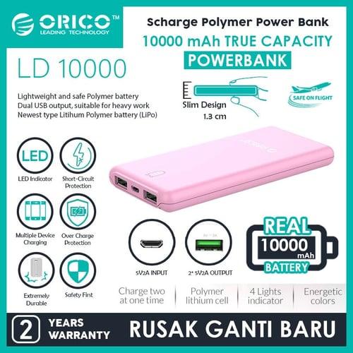 ORICO LD100 10000mAh Scharge Polymer Power Bank PINK