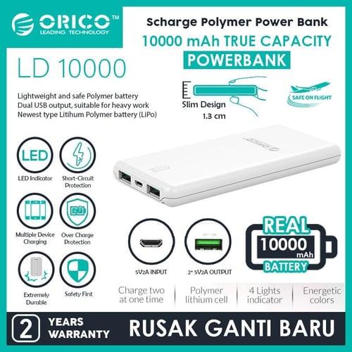 ORICO LD100 10000mAh Scharge Polymer Power Bank Putih