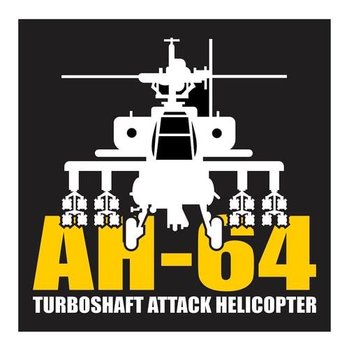 AH-64 Apache Turboshaft Attack Helicopter, Cutting Sticker