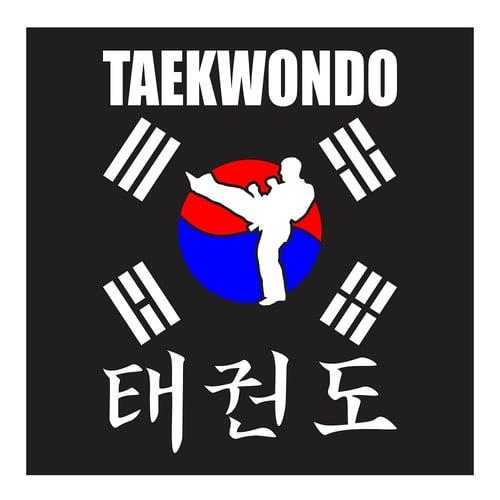 Taekwondo, Front Kick With Korean Flag, Cutting Sticker