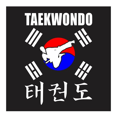 Taekwondo, High Jumping Side Kick With Korean Flag, Cutting Sticker