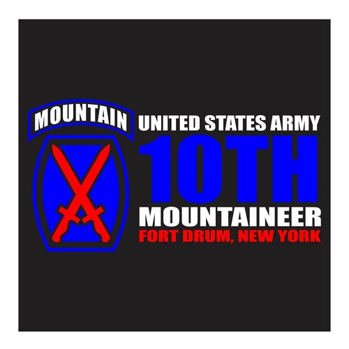 US Army, 10th Mountain, Fort Drum New York, Cutting Sticker