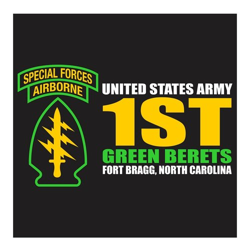 US Army, Green Berets, Special Forces Airborne, 1st Special Forces Command, Fort Bragg California, Cutting Sticker