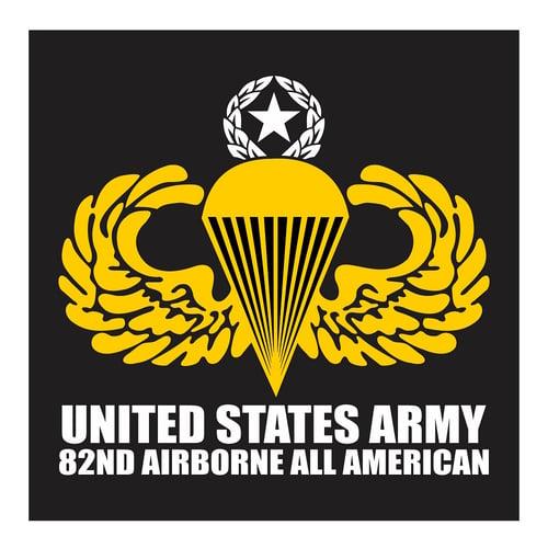 US Army 82nd Airborne Parachute Star, Cutting Sticker