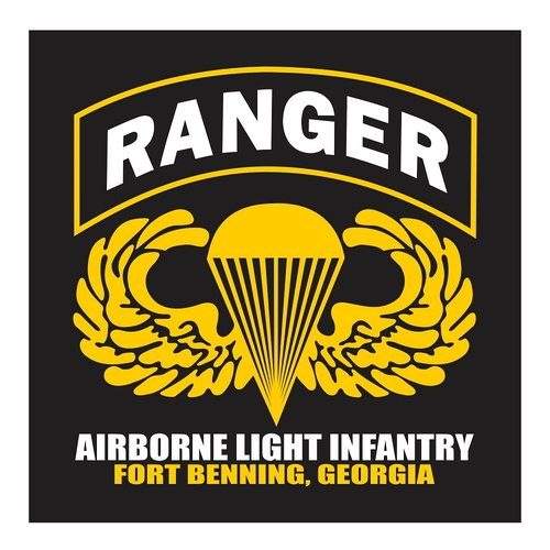 US Army Ranger, Airborne Light Infantry, Fort Benning Georgia Cutting Sticker
