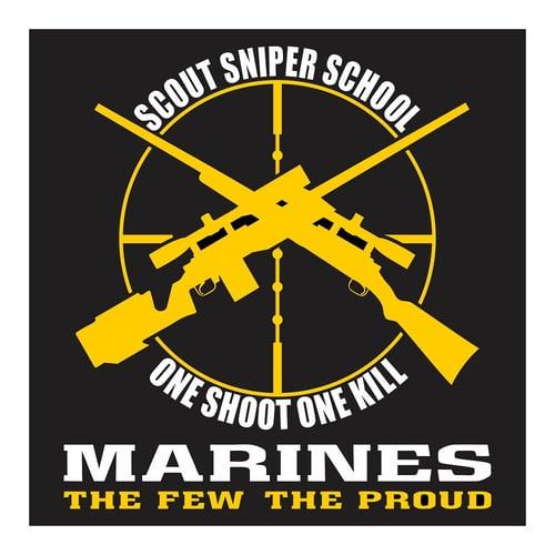 US Marines, Scout Sniper School, One Shoot One Kill, Cutting Sticker