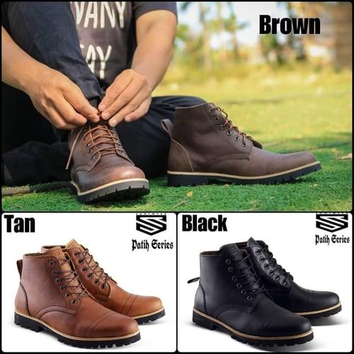 Sepatu boots Kulit asli Sultan brodo Patih Original Free kaos kaki.