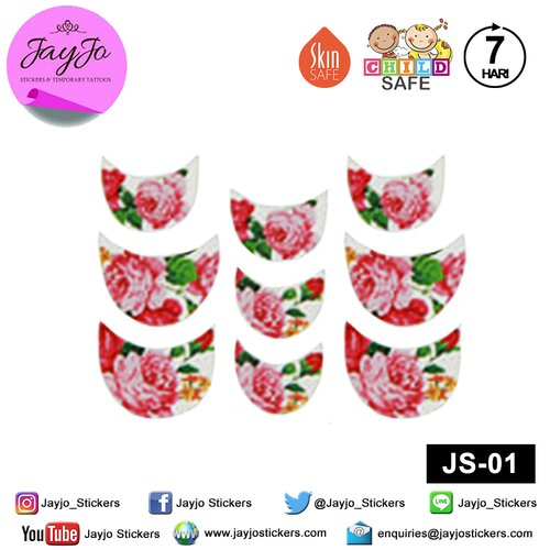 Jayjo Stickers JS-01 Nail Stickers Pink Roses - Nail Sticker - Sticker Kuku- Nail Tattoo - Tato Kuku