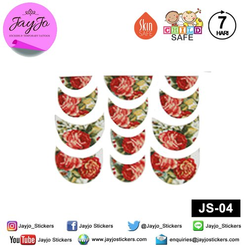 Jayjo Stickers JS-04 Nail Stickers Red Roses - Nail Sticker - Sticker Kuku- Nail Tattoo - Tato Kuku
