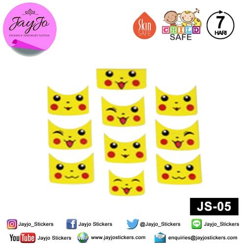 Jayjo Stickers JS-05 Nail Stickers Pokemon Pikachu - Nail Sticker - Sticker Kuku- Nail Tattoo - Tato Kuku