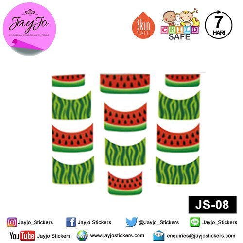 Jayjo Stickers  JS-08 Nail Stickers Watermelon - Nail Sticker - Sticker Kuku- Nail Tattoo - Tato Kuku