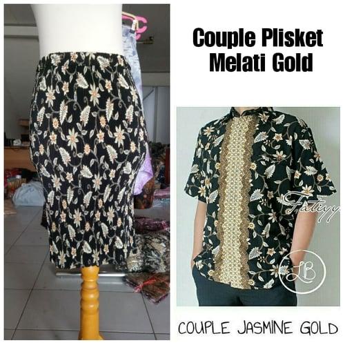 Batik Couple Faranisa Rok Plisket Midi dan Kemeja Batik Pria