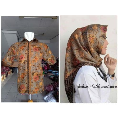 Batik Couple Kemeja Batik Shula dan Jilbab Segi Empat Motif
