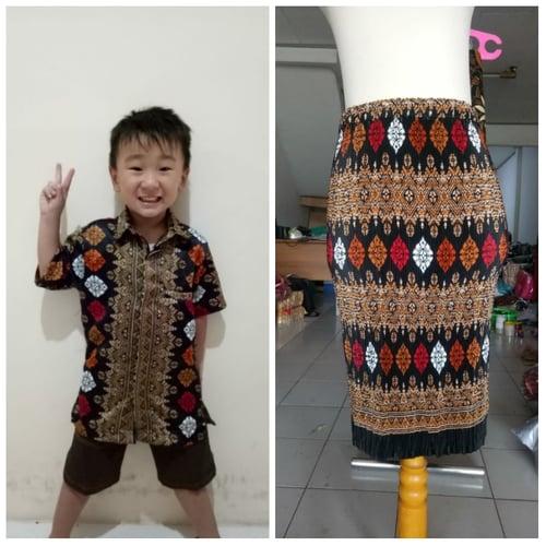 Batik Couple Shericca Rok Plisket dan Kemeja Batik Anak