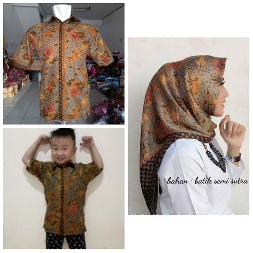 Batik Couple Sky Kemeja Batik Dewasa Anak dan Jilbab Segi Empat Motif