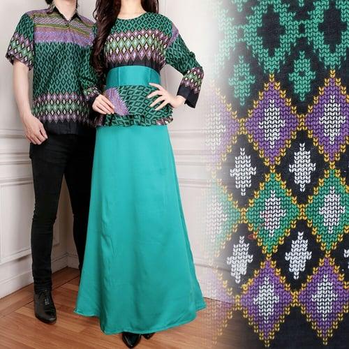 Couple Gamis Maxi Fitri Long Dress Wanita dan Kemeja Batik Pria