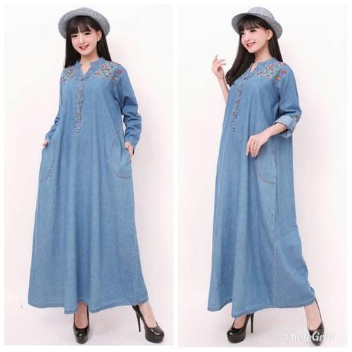 Gamis Maxi Nayl Long Dress Jumbo Jeans Wanita