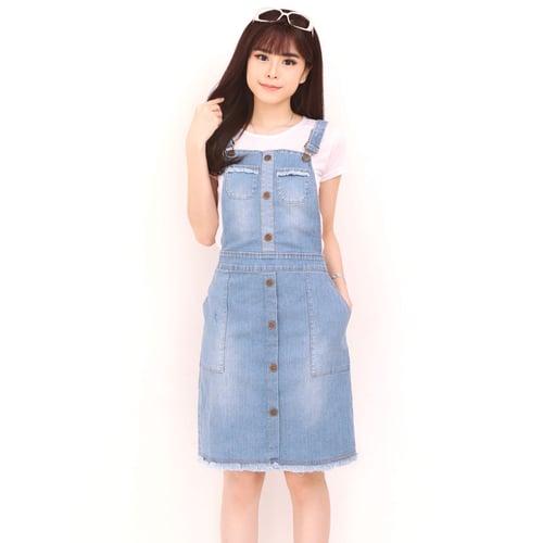 Overall Jumpsuit Nayara Midi Dress Jeans Wanita