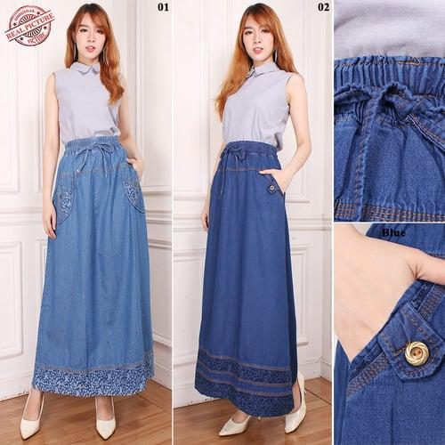 Rok Panjang Christine Maxi Jeans Payung Wanita