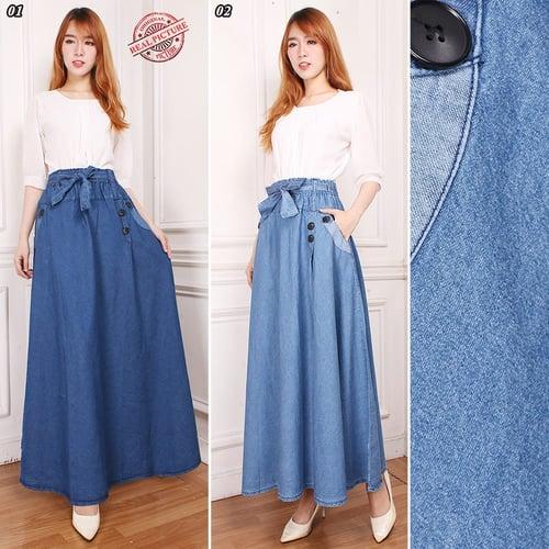 Rok Panjang Martha Maxi Jeans Payung Wanita