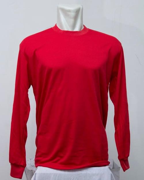 Kaos Polos Oblong TC Tangan Panjang Merah Cabe Merk Sibisan