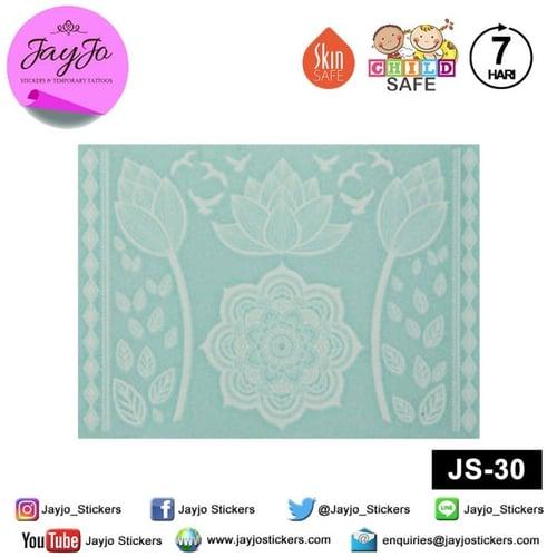 Jayjo Stickers JS-30 White Henna Lotus Mandala - Wedding Henna