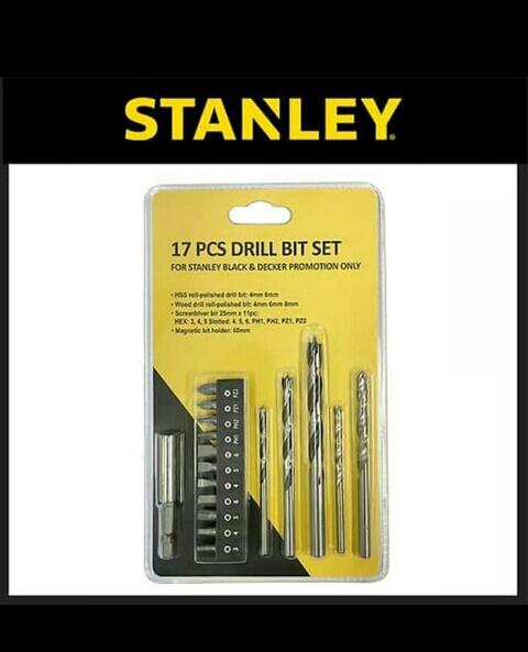 Mata bor dan obeng set stanley 17 drill bit set