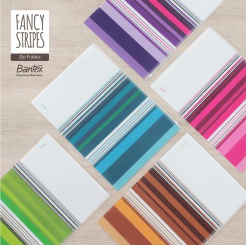 BANTEX Fancy Stripes Zipper Bag Folio 8075 23 Sky Blue