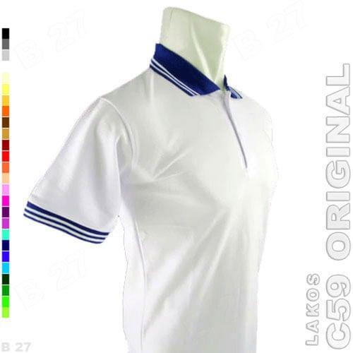 C59 Original K2-71 Kaos Polo Shirt Cowo Lakos Polos Putih Biru