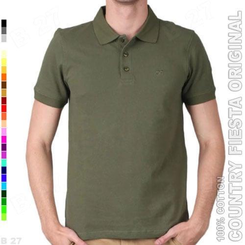 COUNTRY FIESTA Original P2-38 Baju Polo Shirt Cowo Cotton Hijau Army