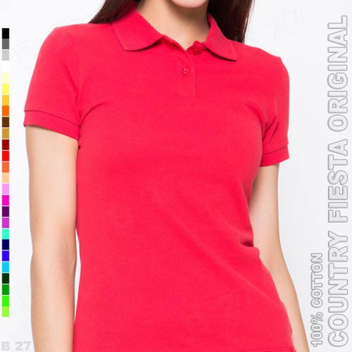 COUNTRY FIESTA Original P3-25 Kaos Polo Shirt Cewek Cotton Merah Cabe